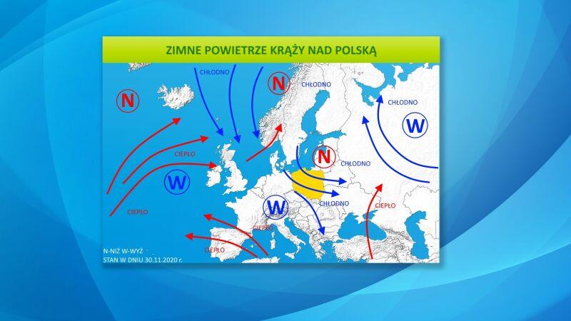 Zimne powietrze krąży nad Polską
