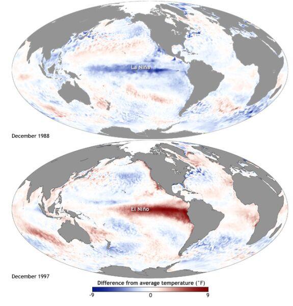 Mapa przedstawia odchylenie od średniej temperatury powierzchni wody w Oceanie Spokojnym (NOAA)