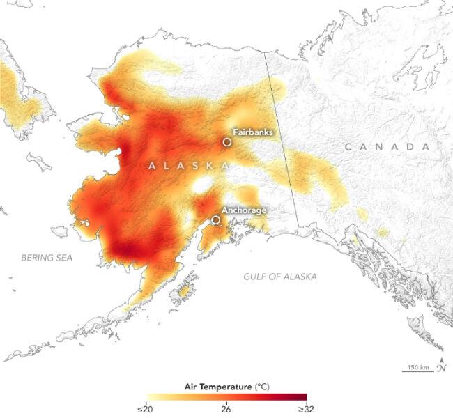 Temperatura maksymalna na Alasce 8 lipca (NASA Earth Observatory)