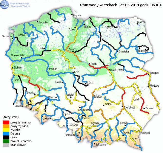 Stan wody w rzekach 22.05 na godz. 06:00 UTC (IMGW)