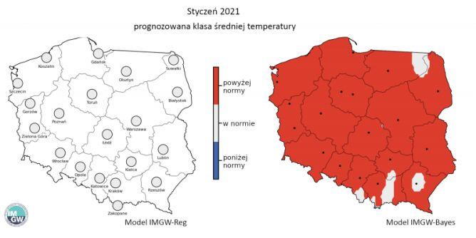 Prognozowana klasa średniej miesięcznej temperatury powietrza w styczniu 2021 r. według modelu IMGW-Reg i IMGW-Bayes (IMGW-PiB)