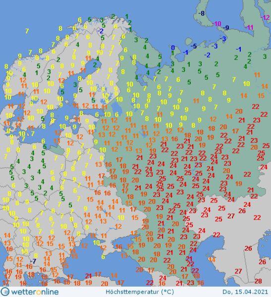 Temperatura maksymalna w Rosji 15 kwietnia (wetteronline.de)