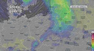 Prognozowane opady deszczu w najbliższych dniach (Ventusky.com)